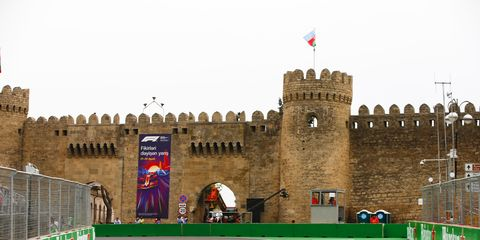 Sights from the F1 action on the Baku City Circuit ahead of the Azerbaijan Grand Prix Friday April 27, 2018.