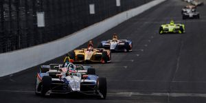 Ed Carpenter leads the pack in practice for this weekend's Indy 500 qualifying.