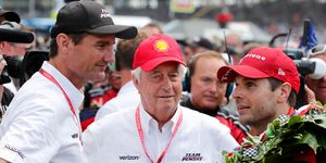 Roger Penske, center, is flanked by Team Penkse president Tim Cindric, left, and race winner Will Power on Sunday at the Indianapolis Motor Speedway.