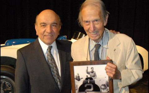 John Fitch, right, was awarded the 'Spirit of Competition' award from the Simeone Foundation Automotive Museum in Philadelphia in 2010.