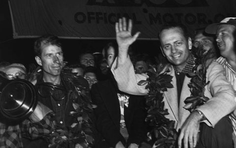 John Fitch and John Walters after winning the Sebring 12 Hours in 1953.