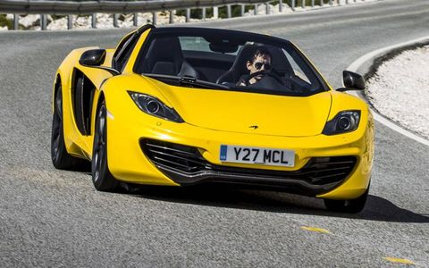 A front view of the 2013 McLaren 12C Spider.