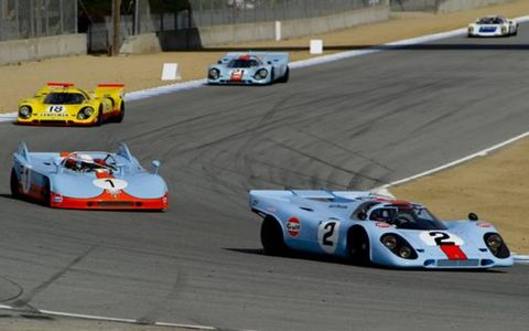 Bruce Canepa driving his 1969 Porsche 917K was the pole sitter, and here leads Redman, Van Lennep and MacAllister.
