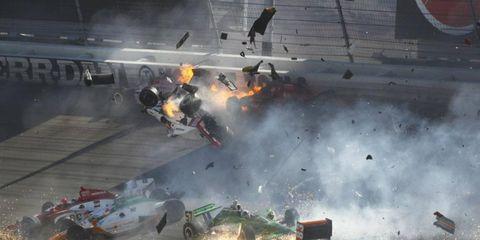 A multi-car crash at Las Vegas took the life of Indy 500 champ Dan Wheldon.