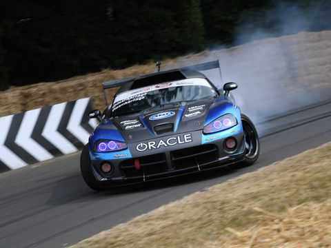 Dean Kearney hangs the tail out on a Dodge Viper.