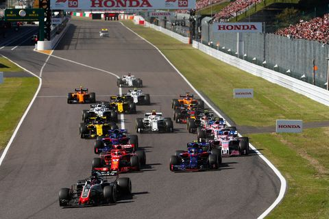 Sights from the action at the F1 Japanese Grand Prix, Sunday Oct. 7, 2018.