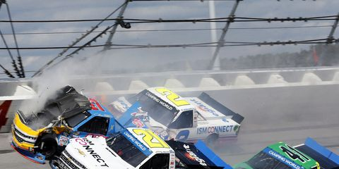 This incident damaged the No. 41 of Ben Rhodes to such a degree that he couldn't come back and contend for a win and playoff advancement spot.