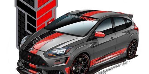 Ford is bringing several tuned 2013 Focus ST hatchbacks to the SEMA show in Las Vegas. Tanner Foust Racing's take on the car includes a Magnaflow exhaust system and aggressive body kit.