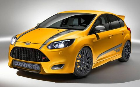 Cosworth performance components boost the Focus ST EcoBoost engine's output to a claimed 330 hp.  M&J Enterprises and Ford Racing also worked on the concept.