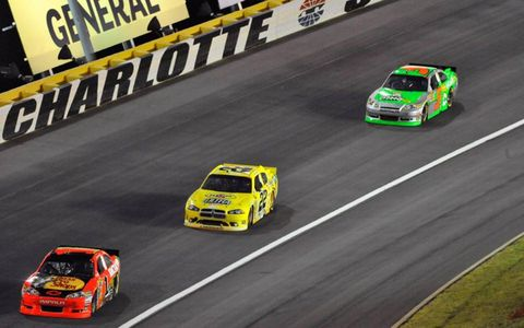 Jamie McMurray leads Kurt Busch and Mark Martin. Photo by: LAT Photographic