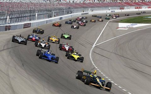 Tony Kanaan leads the field at the start of the race at Las Vegas Motor Speedway. Photo by: Phillip Abbott/LAT Photographic