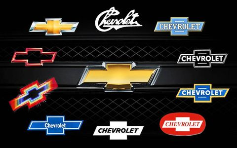 Chevrolet adopted the bow tie early in its history; the iconic logo slowly evolved over the years (clockwise) from the original blue (top right) to the bold gold look (center).