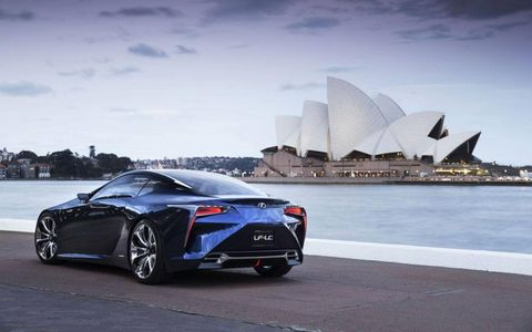 The LF-LC Blue concept is powered by a hybrid system with a total output of 500 hp -- the highest output of any hybrid Lexus so far.