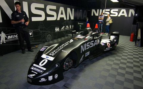 The Nissan DetlaWing sported day-glo orange roll bar tips on Thursday at Road Atlanta.