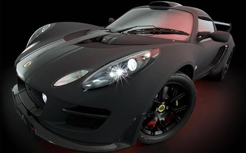 Lotus Exige Scura. Carbon fibre is used extensively to compliment the exterior theme and reduce weight. Vehicle will be at the Tokyo Auto Show October '09.