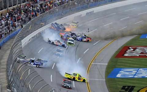 Wrecks all over the track marred Saturday night's truck race