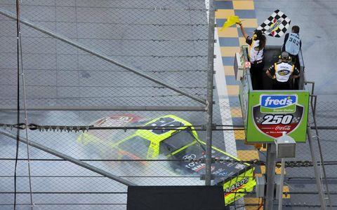 Matt Crafton crosses the finish line backwards.
