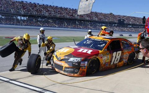 Kyle Busch goes in for a pit stop.