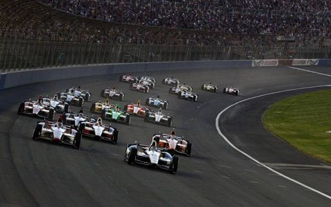 The IndyCar field at Fontana.