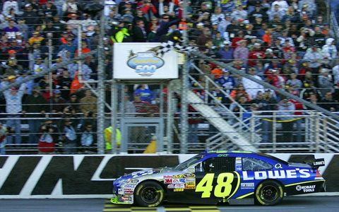 Jimmie Johnson crosses the finish line.