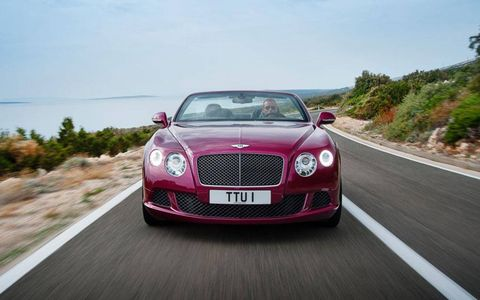 The Bentley Continental GT Speed convertible, set to debut at the Detroit auto show, is a brash British drop-top.