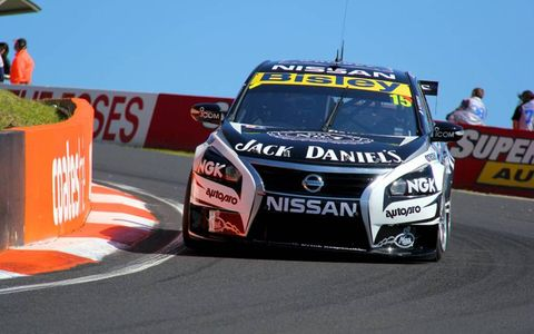 The Jack Daniel's racing team taking a turn at the Bathurst 1000.
