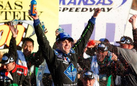 Ricky Stenhouse Jr. owned victory lane after his win in the Nationwide Series race at Kansas on Saturday.