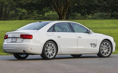 The 2014 Audi A8L TDI is capable of producing 240-hp and 406 lb-ft of torque.