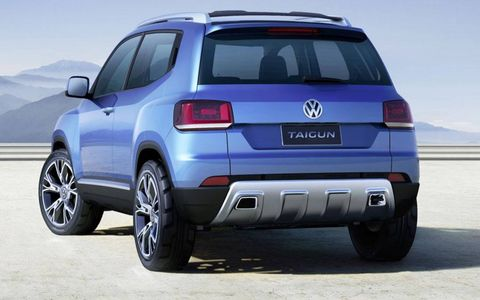 A rear view of the Volkswagen Taigun concept.