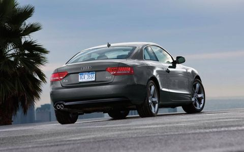 The Audi A5 drove briskly thanks to its six-speed manual transmission, which allows the driver to make the most out of its turbocharged 2.0-liter inline four.