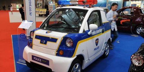 Law enforcement's future ride. Picture taken at the Tokyo auto show.