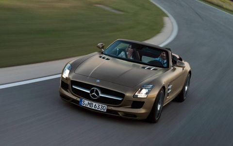 The 2012 Mercedes-Benz SLS AMG roadster doesn't have the classic gullwing doors found on the coupe, but that didn't make it any less of a supercar.