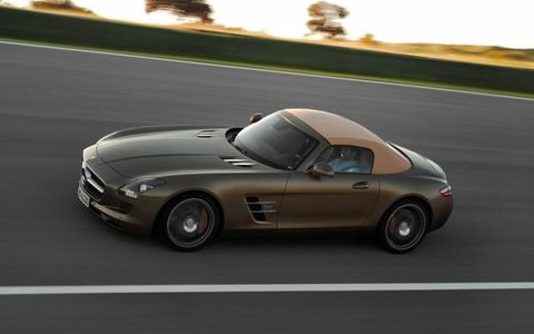 One big difference between the 2012 Mercedes-Benz SLS AMG coupe and roadster -- besides the option of top-down driving in the latter vehicle -- was the roadster's lack of adjustable suspension.