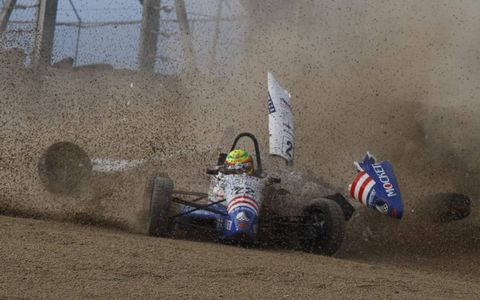 Not how it's done: Teammates Spencer Pigot and Felix Serralles tangle during the Formula Ford Festival at Brands Hatch in the U.K., held Oct. 16-17.