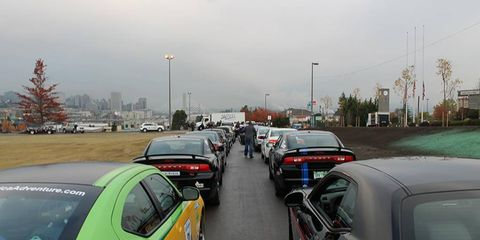 Cars lined up for the start of the rally.