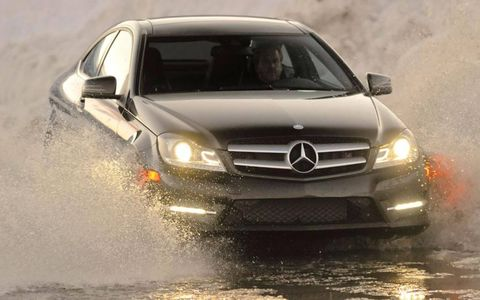 The all-wheel drive feature of the 2012 Mercedes-Benz C350 4Matic coupe allowed us to tackle obstacles, including unexpected standing water on the highway, with confidence.