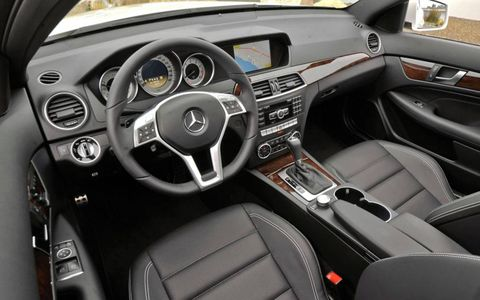 The interior quality of the 2012 Mercedes-Benz C350 4Matic coupe evoked the Benzes of old -- and it looked great, too.