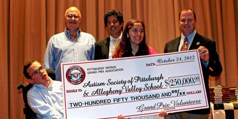 At the recent donation ceremony, pictured from left to right: Brandon Fisher--Allegheny Valley School ambassador, George Jacoby--PVGP board chairman, Rich Haeflein of presenting sponsor Shop 'n Save, Anita Iyengar-- Autism Society of Pittsburgh ambassador and Dan DelBianco -- PVGP executive director.
