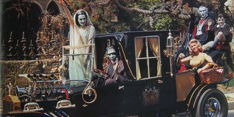 The Munster Koach from the TV show The Munsters (1964-66). This was one of two cars built for the show, and still a great-looking ride today.