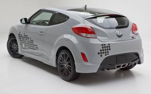 A rear view of the 2013 Hyundai Veloster Re:Mix.