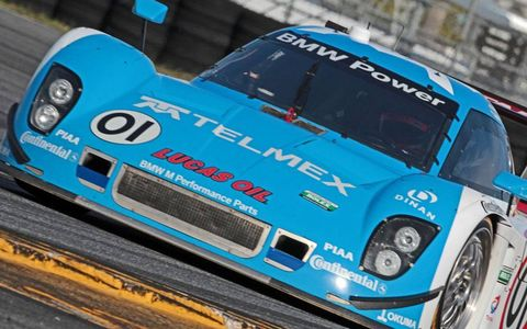 The 01 BMW of Scott Pruett, Memo Rojas, Juan Pablo Montoya and Charlie Kimball gets its laps in at Daytona.