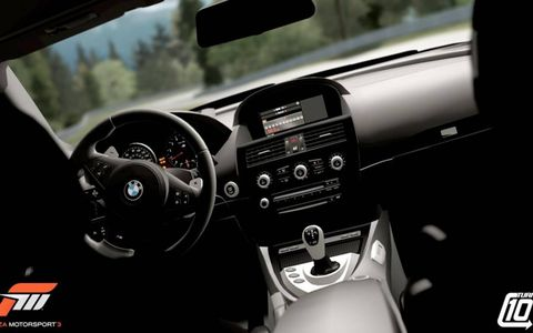 The highly detailed interior of the BMW M6 in the AutoWeek Car Show Pack for Forza Motorsport 3.