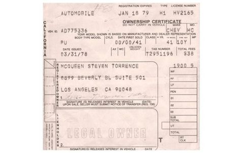 The winning bidder will also get this original pink slip for the 1941 Chevrolet pickup, which misspells McQueen's name as Torrance rather than the correct Terrence.