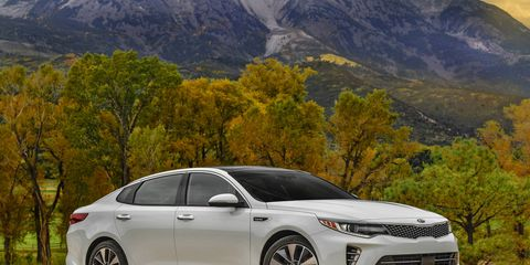 The 2016 Kia Optima SXL is shown above, but this model is visually similar to the EX.