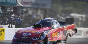 Courtney Force makes a run in her Funny Car at zMax Dragway in Charlotte, N.C.