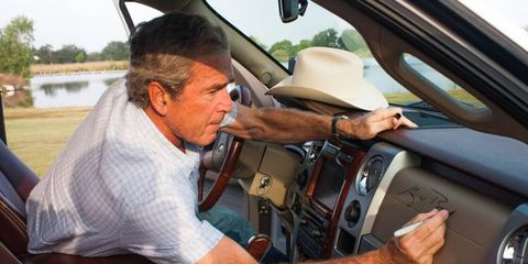 President Bush signing the dash of his F-150, which is to be auctioned by Barrett-Jackson in Scottsdale?