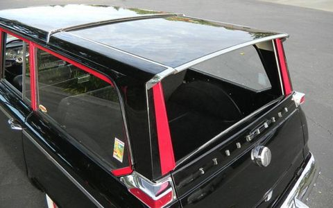 The sliding roof of the 1965 Studebaker Wagonaire Deluxe is a feature that set the vehicle apart from other wagons of the era.