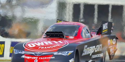 Cruz Pedregon earned the No. 1 position for Sunday's Funny Car eliminations in Atlanta.