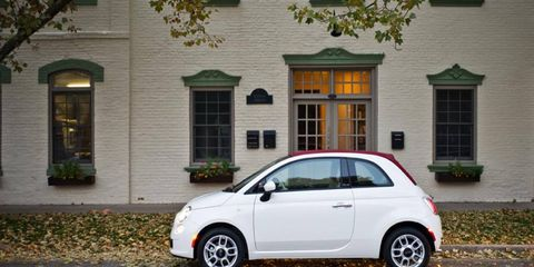 The 2012 Fiat 500C has 9.5 cubic feet of cargo space.