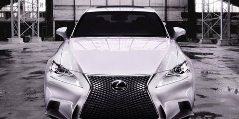 The new Lexus IS F Sport has the typical Lexus spindle grille design.